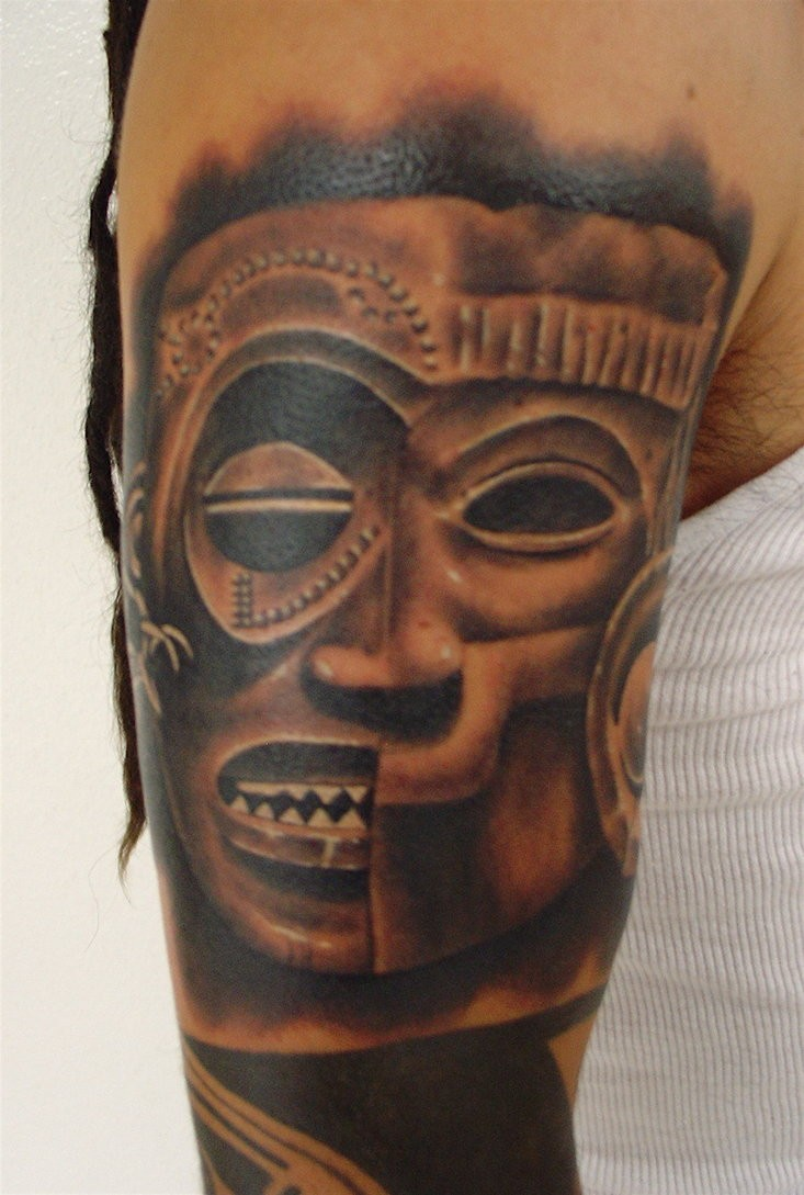 Black and gray style arm tattoo of antic stone statue