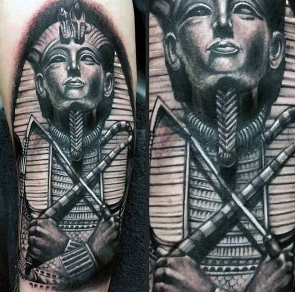 Black and gray style awesome looking arm tattoo of Egypt Pharaoh statue