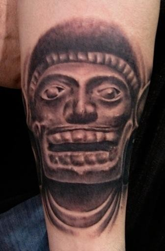 Black and gray style big antic statue tattoo