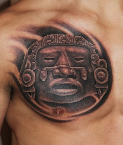 Black and gray style chest tattoo of antic statue