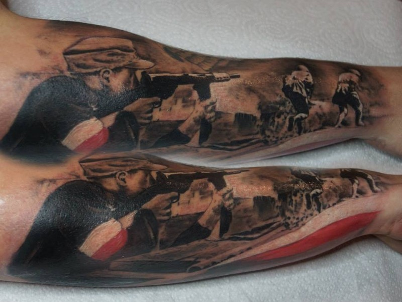 black and gray style colored arm tattoo of ww2 soldiers. Black Bedroom Furniture Sets. Home Design Ideas