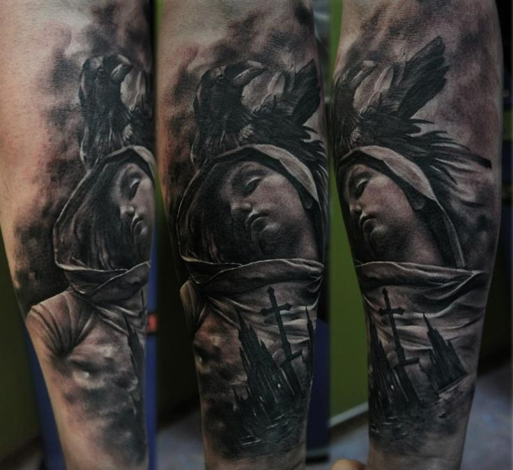Black and gray style colored arm tattoo of woman with old town