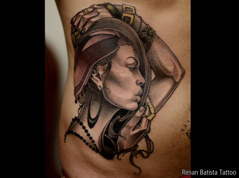 Black and gray style colored bell tattoo of sexy woman with bracers