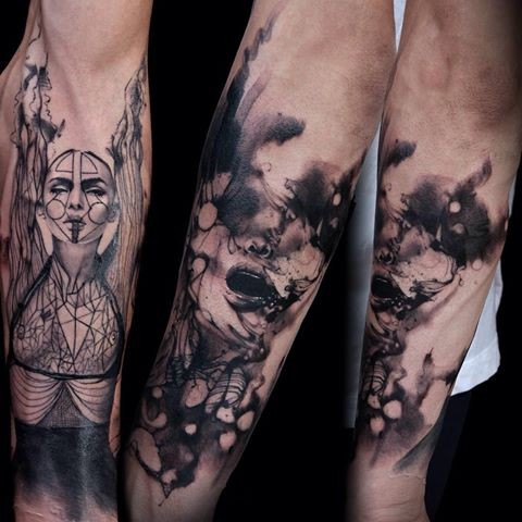 Black and gray style colored forearm tattoo of mystic woman face