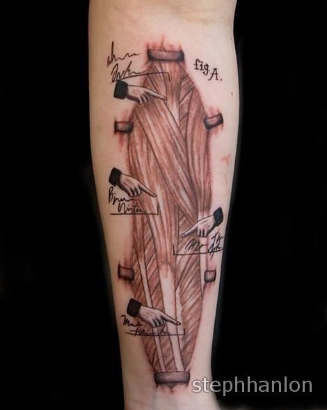 Schwarzer und grauer Stil farbiges Unterarm Tattoo von menschlichen ...