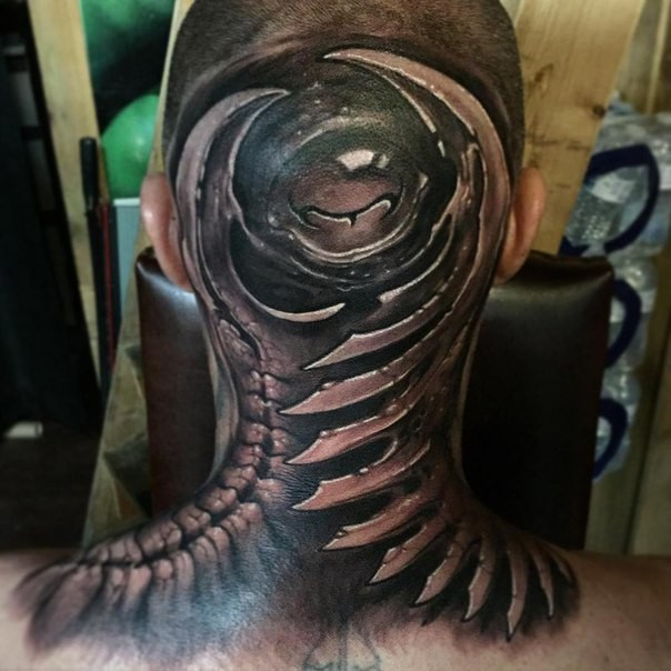 Black and gray style colored neck tattoo of alien bones