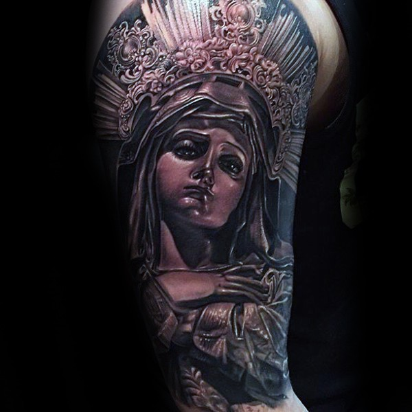 Black and gray style colored shoulder tattoo of saint woman statue