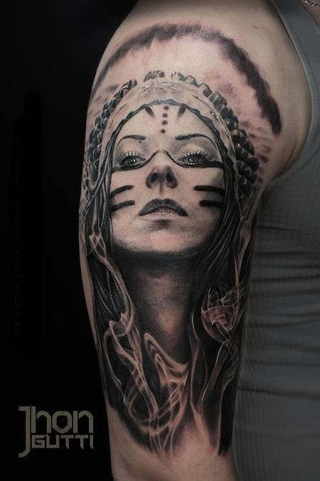 Black and gray style colored shoulder tattoo of Indian woman with smoke