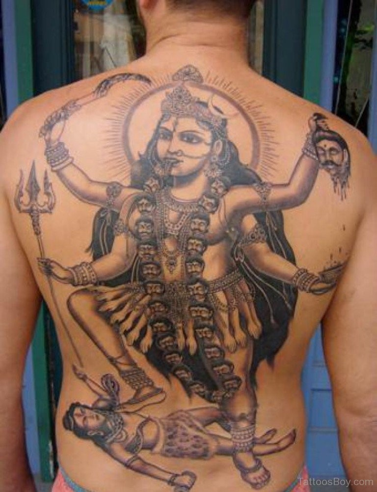 Black and gray style colored whole back tattoo of Hinduism Goddess