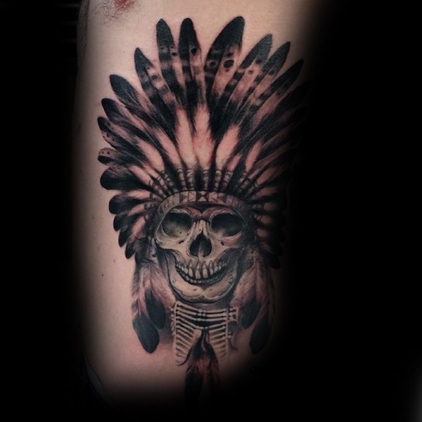 Black and gray style cool looking side tattoo of Indian skull with feather