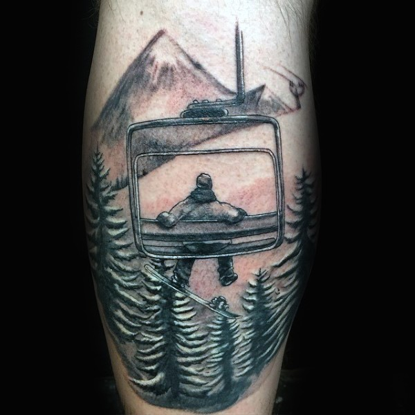 Black and gray style cool snowboarder tattoo