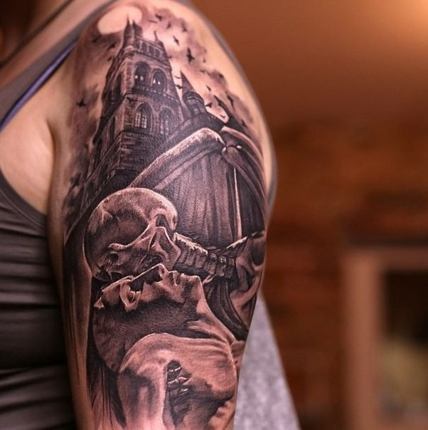 Black and gray style creepy looking shoulder tattoo of old cathedral with skeleton and human