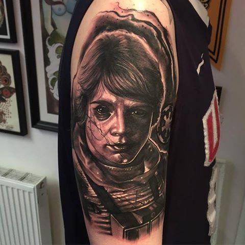 Black and gray style demonic Like Skywalker tattoo on shoulder