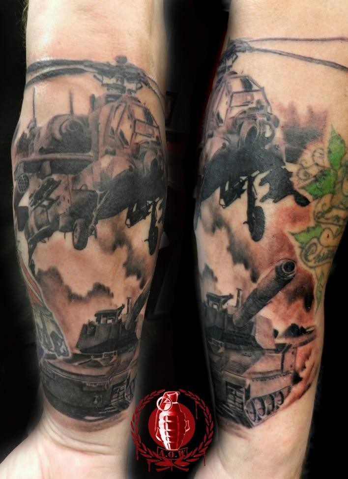 Black and gray style detailed arm tattoo of military helicopter and tank
