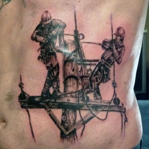 black and gray style detailed belly tattoo of linemen workers. Black Bedroom Furniture Sets. Home Design Ideas