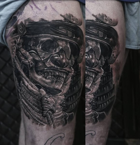 Black and gray style detailed samurai warrior with mask and rope