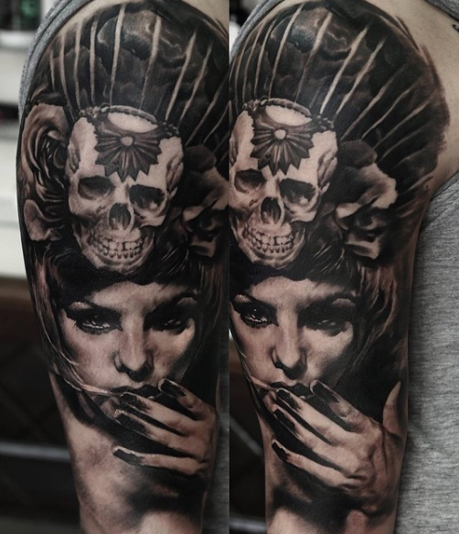 Black and gray style detailed shoulder tattoo of mysterious woman stylized with skull