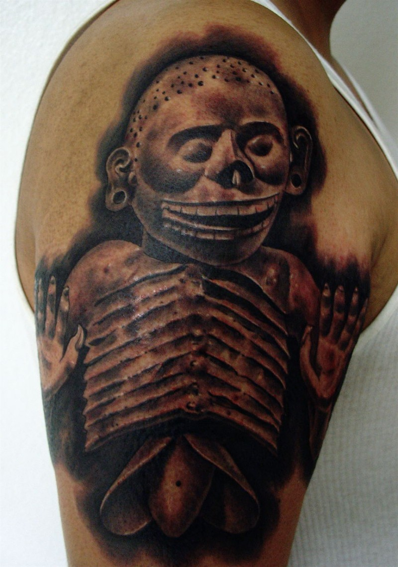 Black and gray style detailed shoulder tattoo of ancient sculpture
