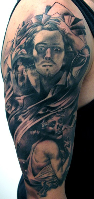 Black and gray style detailed shoulder tattoo of crazy man with demonic woman