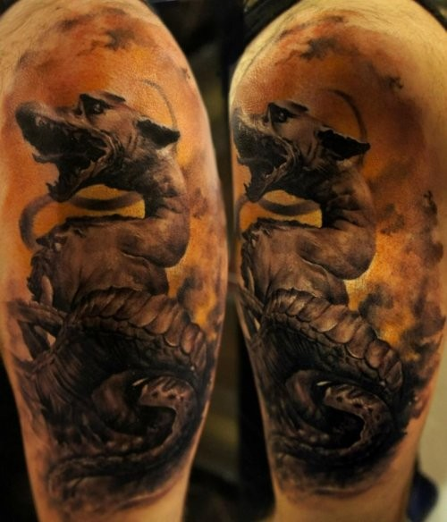 Black and gray style detailed shoulder tattoo of fantasy dragon
