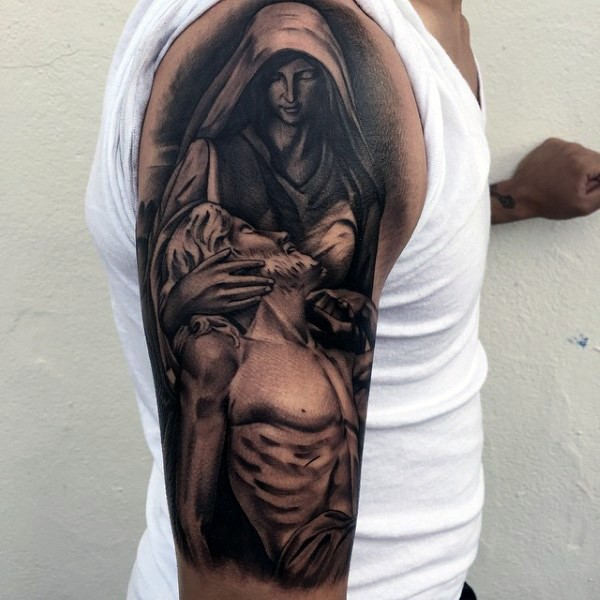 Black and gray style dramatic religious tattoo on shoulder