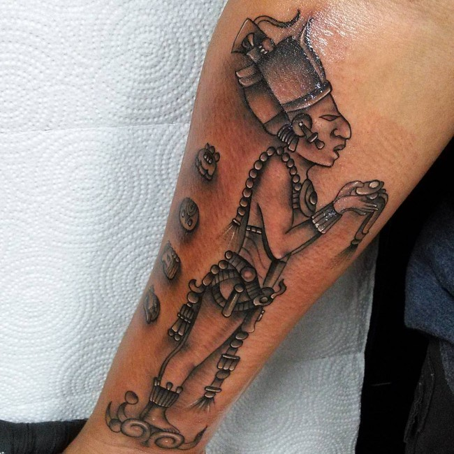 Black and gray style forearm tattoo of ancient statue