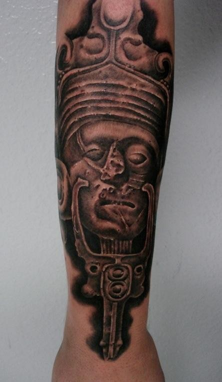 Black and gray style forearm tattoo of antic statue