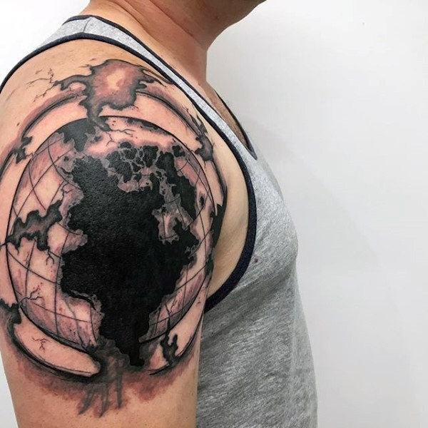 Black and gray style impressive looking shoulder tattoo of corrupted  globe