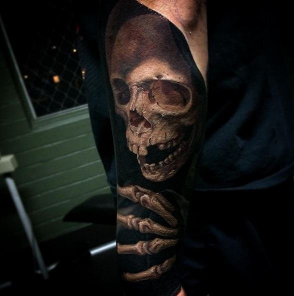 Black and gray style interesting looking arm tattoo fo Grimm reaper