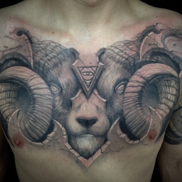 Black and gray style large chest tattoo of mysterious demonic goat