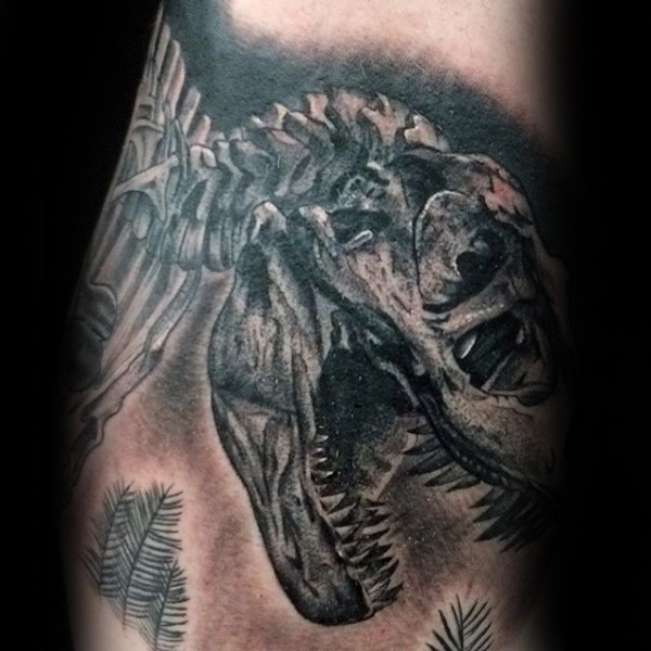 Black and gray style large dinosaur skeleton tattoo