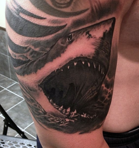 black and gray style large shark face tattoo on shoulder