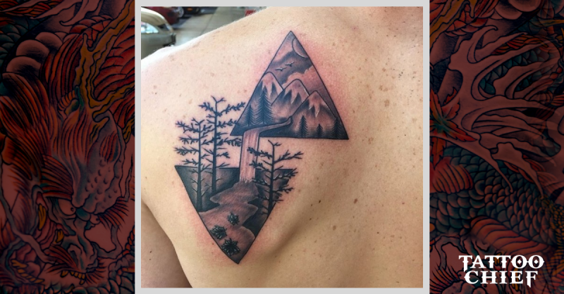 Black and gray style original designed mountain waterfall with fores tattoo of back