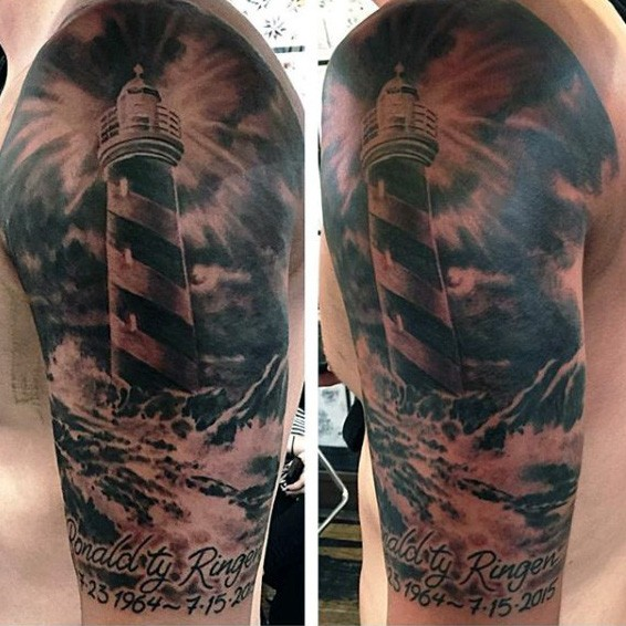 Black and gray style shoulder memorial tattoo of lighthouse and lettering