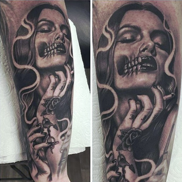 Tattoo Woman Demonic: Black And Gray Style Smoking Demonic Woman Tattoo On Leg