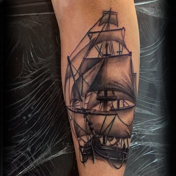 Black and gray style very detailed sailing ship