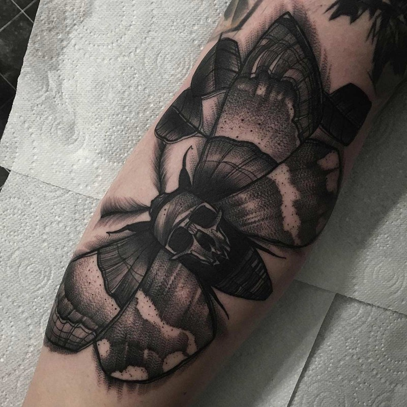 Black and white big size moth decorated with skull detailed tattoo