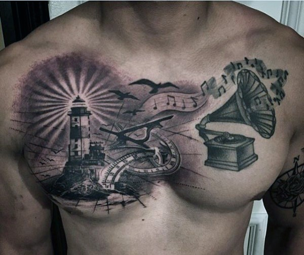 Black and white colored lighthouse with gramophone and birds