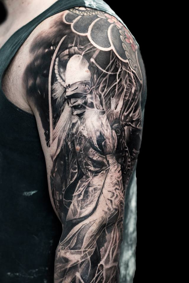 Black and white colors samurai tattoo on shoulder