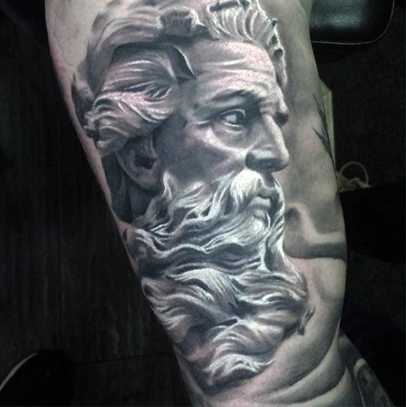 Black and white detailed antic statue tattoo on arm