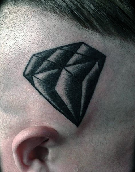 Black and white detailed diamond tattoo on skull