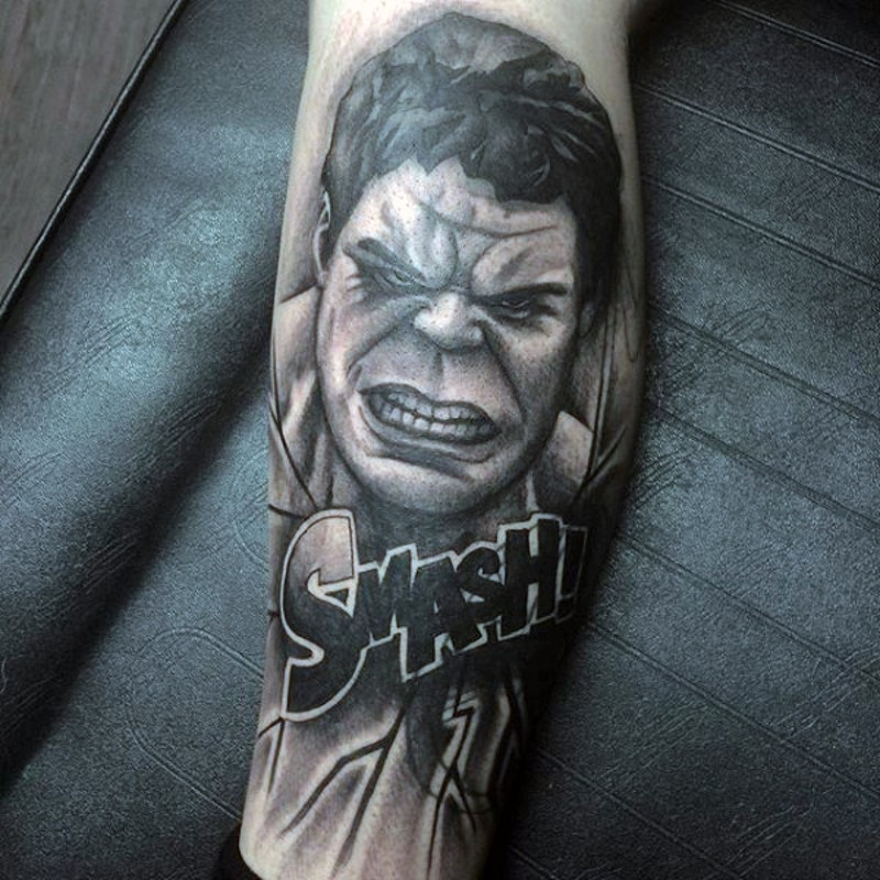 Black and white furious Hulk&quots portrait tattoo with lettering Smash