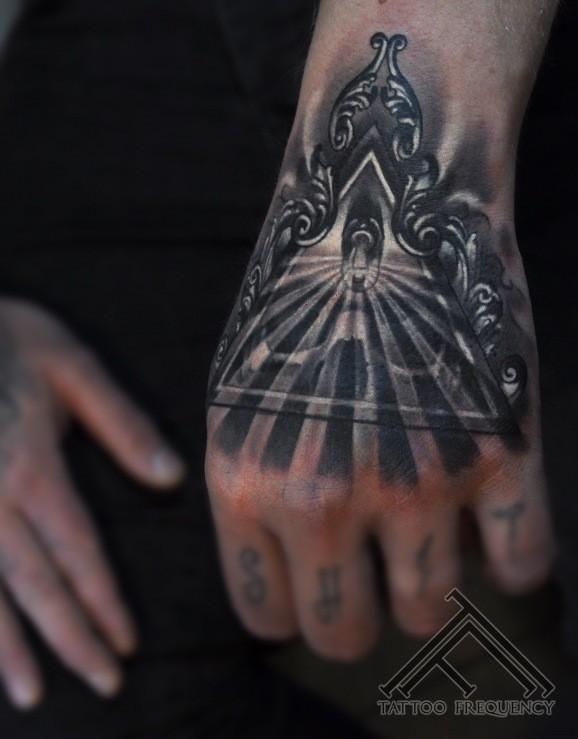 Black and white hand tattoo od mystical skull symbol