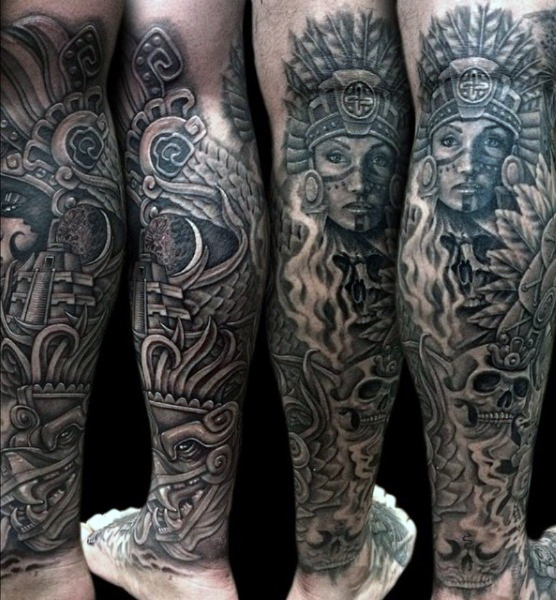 d91f19ceb Black and white incredible looking leg tattoo of Mayan tribes woman and  sculptures