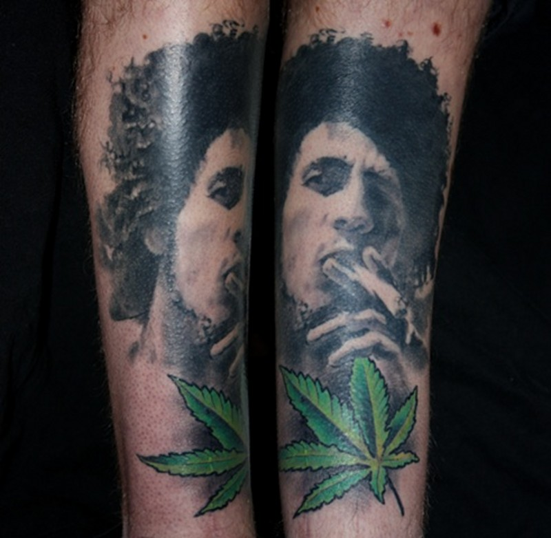 Black and white Jimmy Hendricks smoking portrait and green weed leave 3D lifelike tattoo