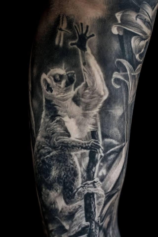 Black and white Lemur tattoo