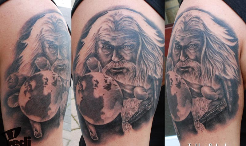 Black and white photo like 3D realistic old wizard with magic ball shoulder zone tattoo