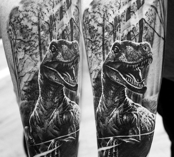 Black and white realism style dinosaur tattoo on thigh