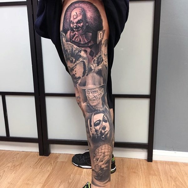 Black and white realistic looking leg tattoo of various horror movies heroes