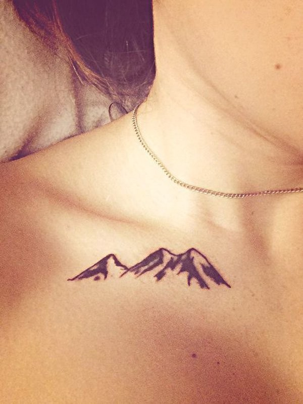 Black and white small size simple design mountains collarbone tattoo